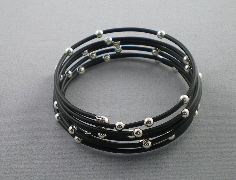 Starry Night Black Rubber and Sterling Silver Memory Wire image 0