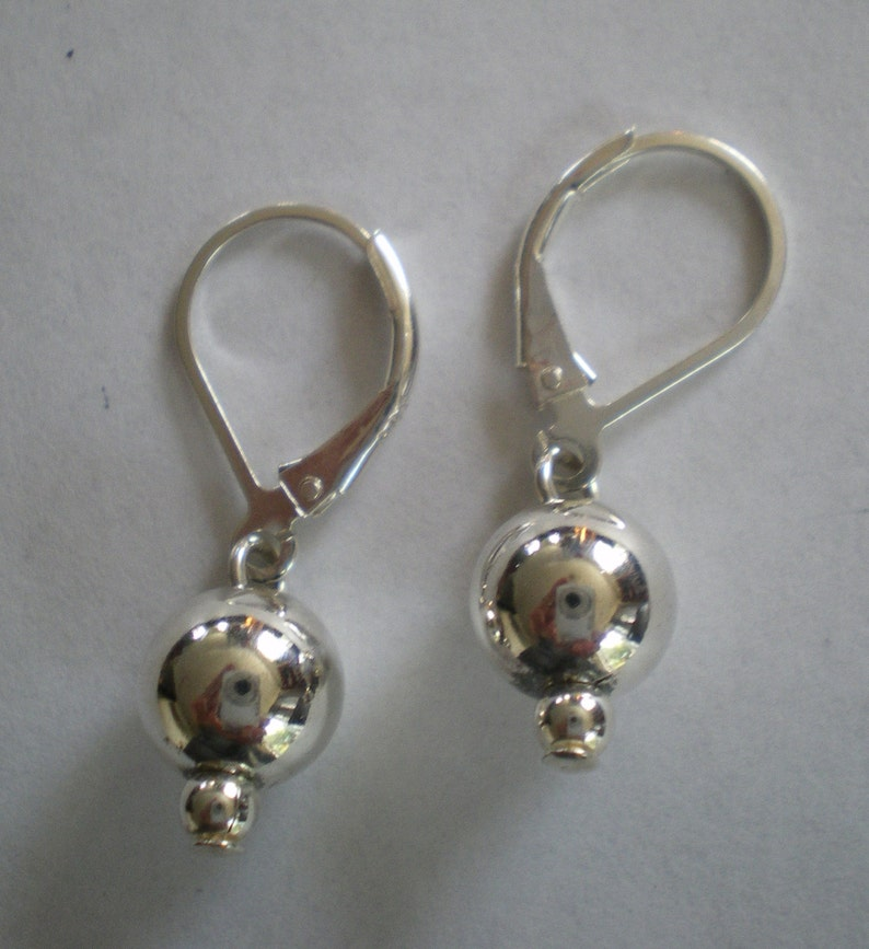 Sterling Silver Ball Earrings on Lever Ear Wires image 0