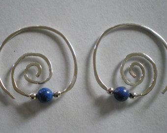 Sterling Silver Spiral Earrings with Freshwater Pearl or Choice of Stone Bead