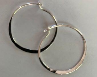 """Handmade Sterling Silver 1 1/4"""" Hoop Earrings"""