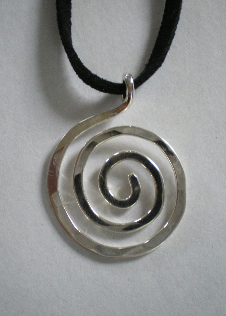 Sterling Silver Spiral Pendant on Suede Cord image 0