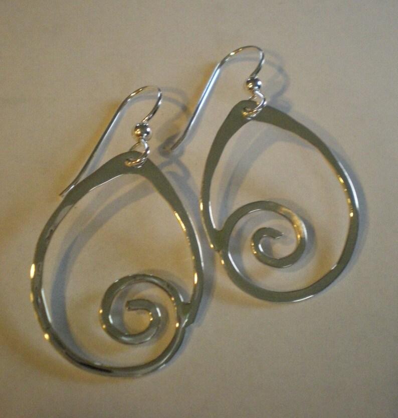 Handmade Sterling Silver Sea Spiral Earrings image 0