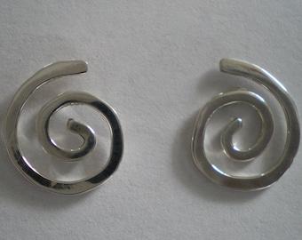 Handmade Small Sterling Silver Spiral Post Earrings