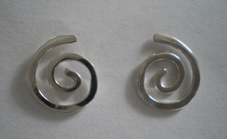 Handmade Small Sterling Silver Spiral Post Earrings image 0