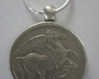 Greek Pegasus Coin Set in Sterling Silver Bezel on Sterling Silver Snake Chain