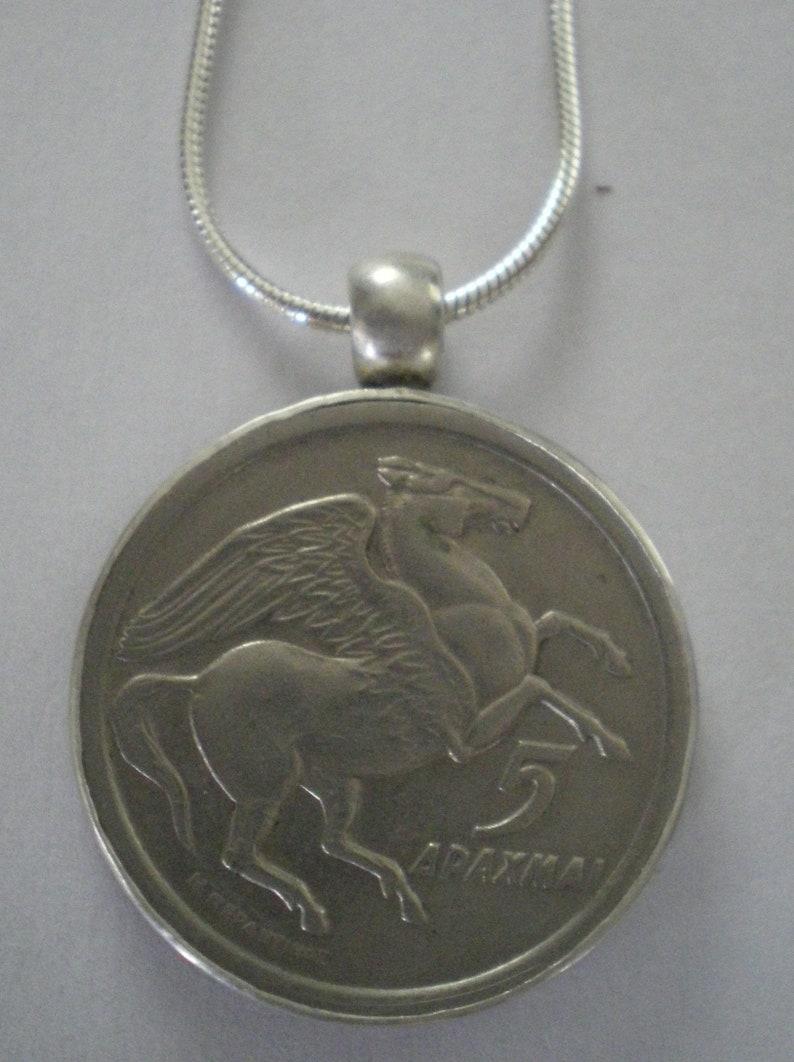 Greek Pegasus Coin Set in Sterling Silver Bezel on Sterling image 0