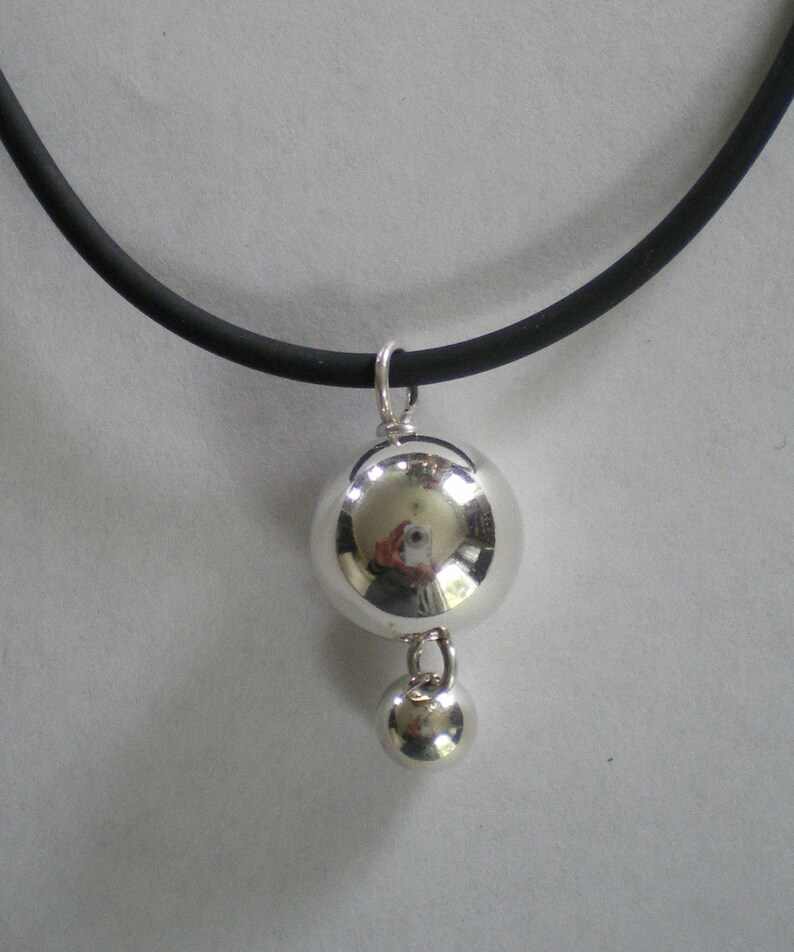 Sterling Silver Double Ball Pendant on Black Cord image 0