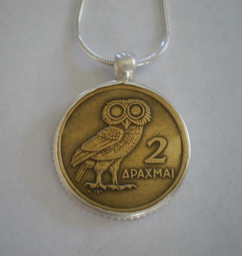 Sterling Silver Bezel-Set Greek Owl Coin Athena Pendant on image 0