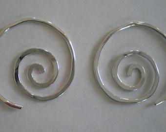 Simple Sterling Silver Spiral Earrings