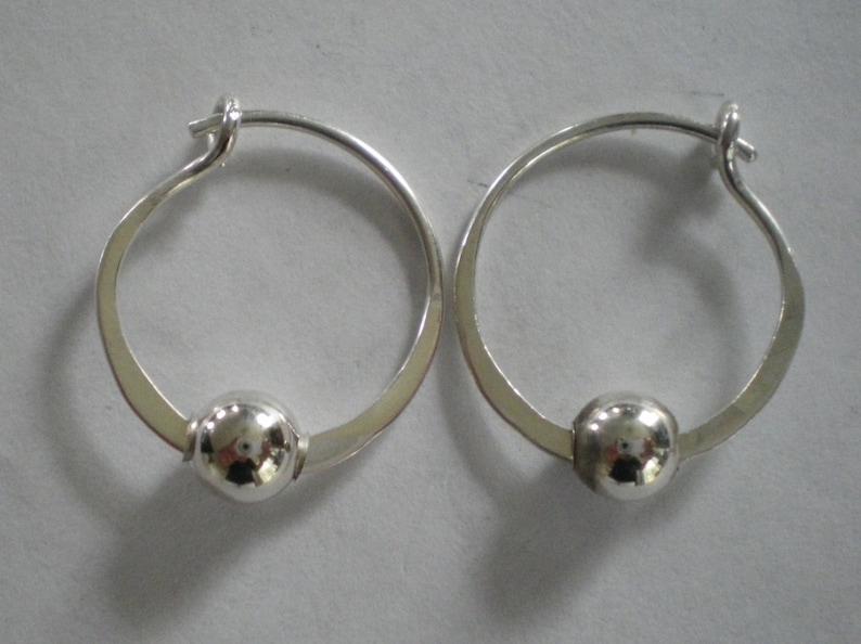Sterling Silver  Hoop Earrings with Bead image 0