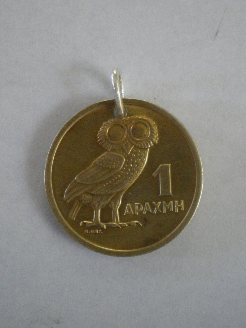 Greek Owl Coin Pendant or Key Ring with Soldered Sterling image 0