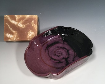 Scalloped Pottery Soap Dish - Purple and Black - Handmade soap dish - bathroom decor - housewarming - ceramics - pottery - stoneware