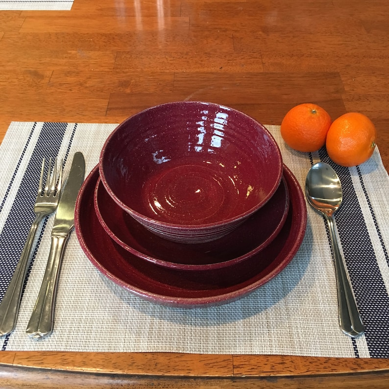 Ceramic Dinner Plate Salad Plate and Soup Bowl- ceramics pottery Ruby Red Custom pottery Dinner Ware Place Setting stoneware