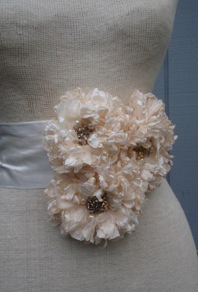 bridal sash bridal gift. bridal belt Weddin sash bridal  Belt wedding accessories flower sash Peach and  white color  sash