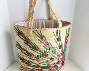 90e75647ab Vintage Straw Bag Large Beach Tote Pink Raffia Flowers Woven Bag Lined  Knitting Bag