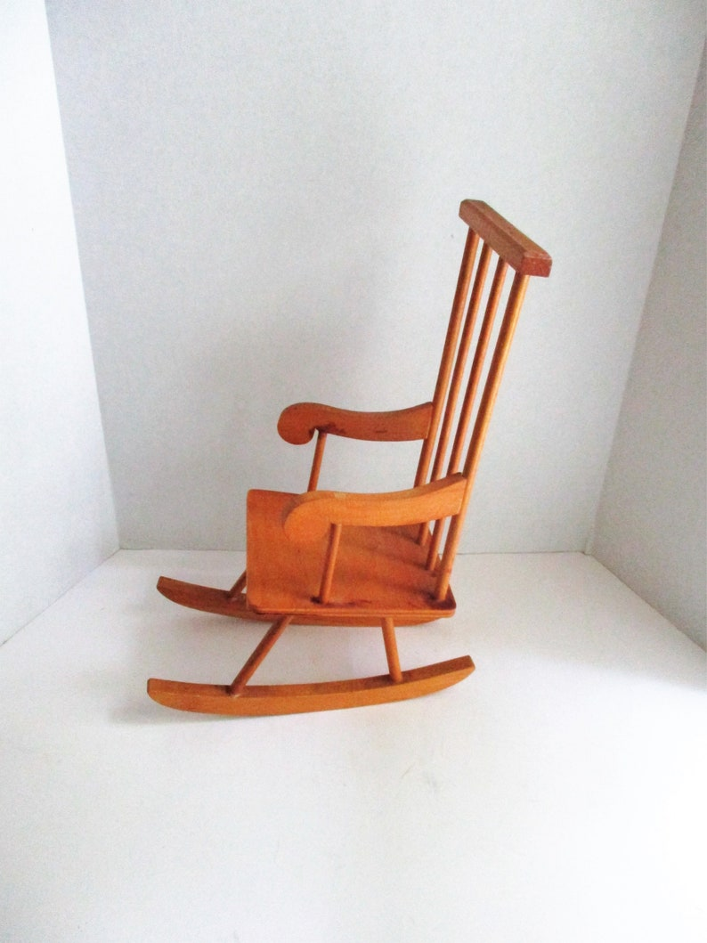 Magnificent Vintage Doll Rocking Chair Wooden Chair Tall Back Spindles Evergreenethics Interior Chair Design Evergreenethicsorg