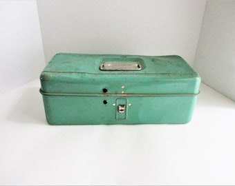 Vintage Liberty Tackle Box Teal Green Tool Box Liberty Steel Chest Corporation Made in USA Rochester, New York