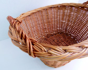 Vintage Wicker Woven Basket Oval Handles 1980's