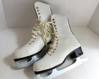 Vintage Ice Skates White Ladies Leather Figure Skates Winter Decor Front Door Decor