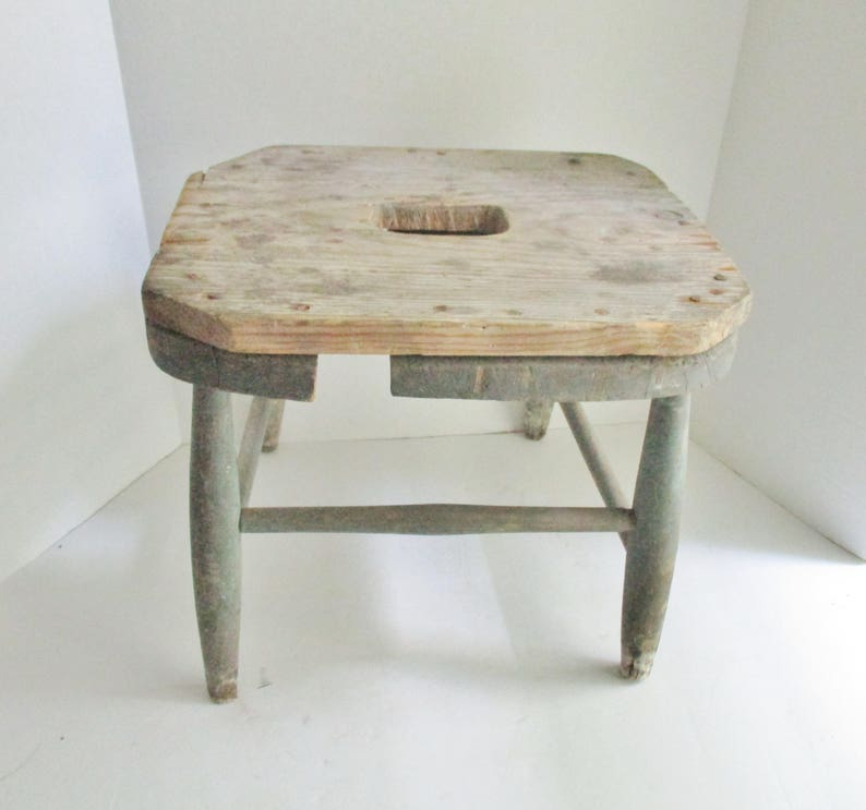 Outstanding Vintage Stool Rustic Wood Blue Chipped Paint Milking Stool Step Stool Foot Stool Pabps2019 Chair Design Images Pabps2019Com