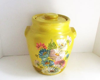 Vintage Ransburg Cookie Jar Yellow Stoneware Fall Decor Planter Hand Painted Flowers 1930's