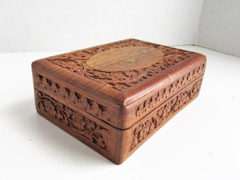 jewellery trinket keepsake hinged Indian wooden box One Hand painted Bohemian