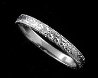 Engraved Platinum Wedding Ring Art Deco Style Women S Etsy