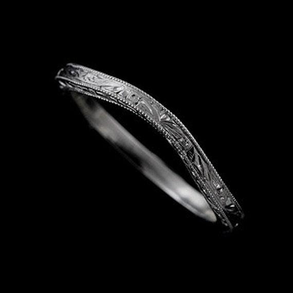 engraved platinum wedding band