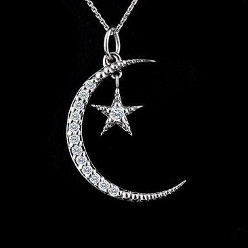 b8eddb026d31 Luna y estrella collar colgante de la luna de media luna de