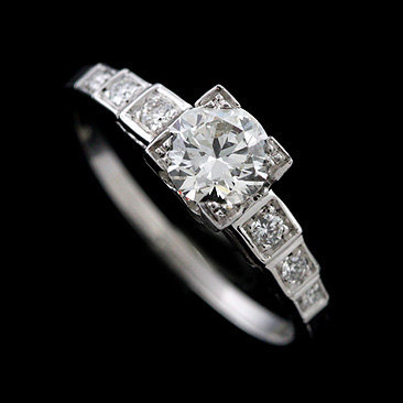 9a6fe811d Art Deco Inspired Engagement Ring Diamonds Step Style Ring   Etsy