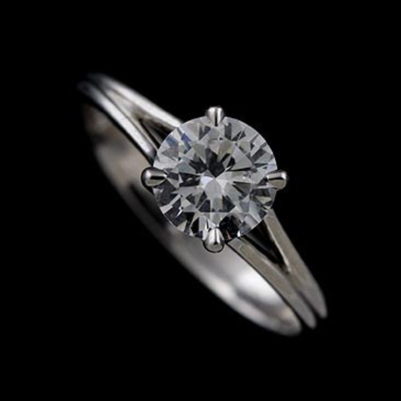6271cde98cc Solitaire Engagement Ring Round Cubic Zirconia Ring Plain