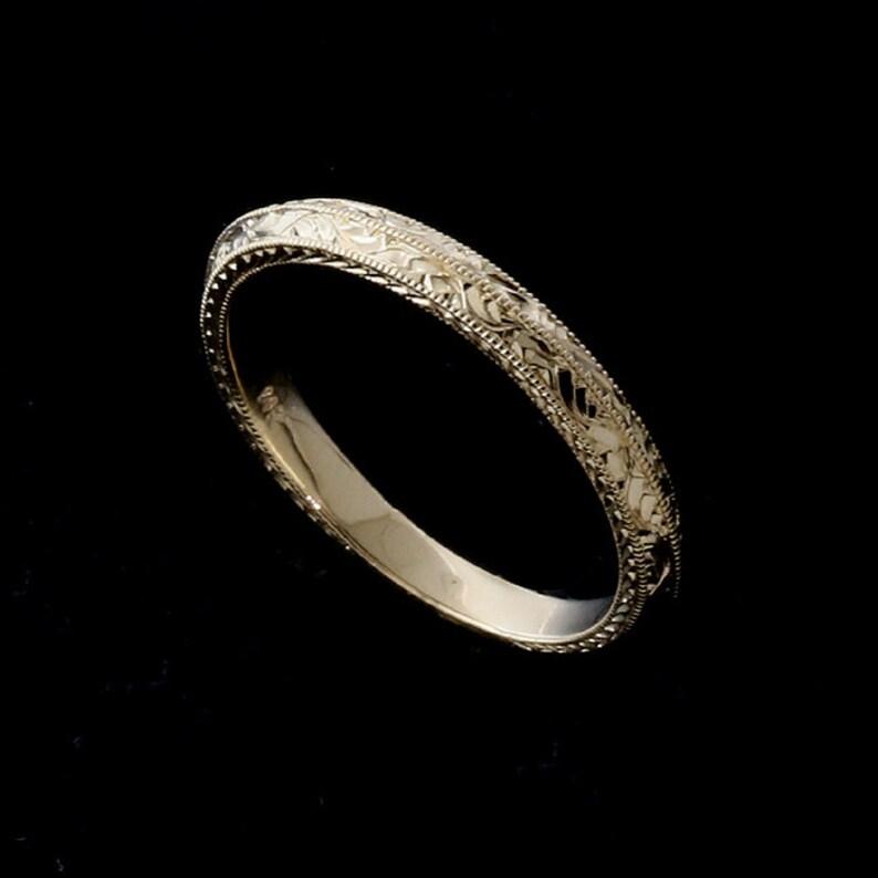482f2a618b6 Knife Edge Women s Weeding Ring Double Milgrain Wedding