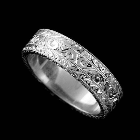 Art Deco Men S Ring Engraved Men S Wedding Ring 6mm Etsy