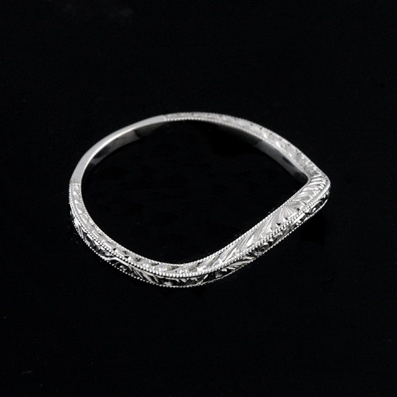 Deep Curved Engraved Thin Gold Band
