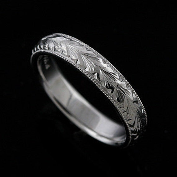 Art Deco Men's Ring Platinum Men's Band Wheat