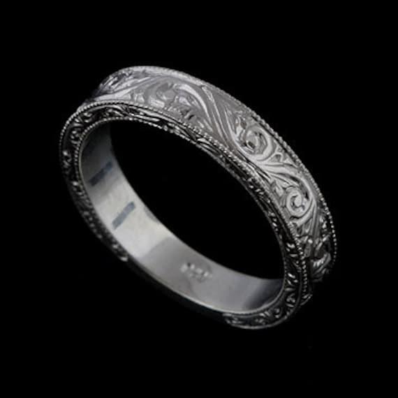 Engraved Men S Wedding Ring Art Deco Scroll Style Wedding Etsy