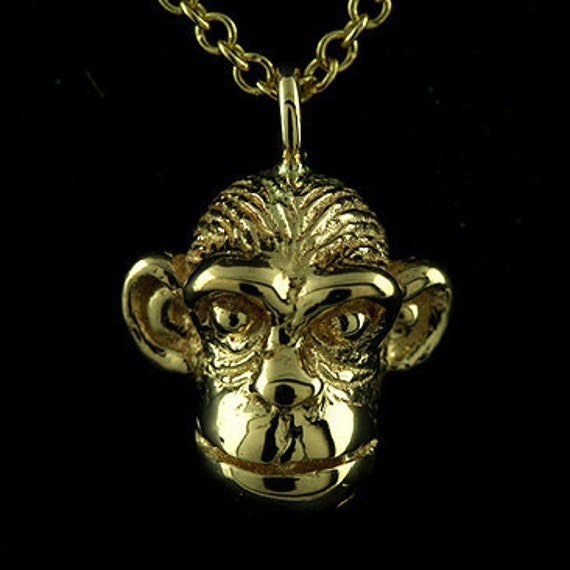 CHIMP CHARM WITH BOX CHAIN NECKLACE STERLING SILVER ORANGUTAN MONKEY