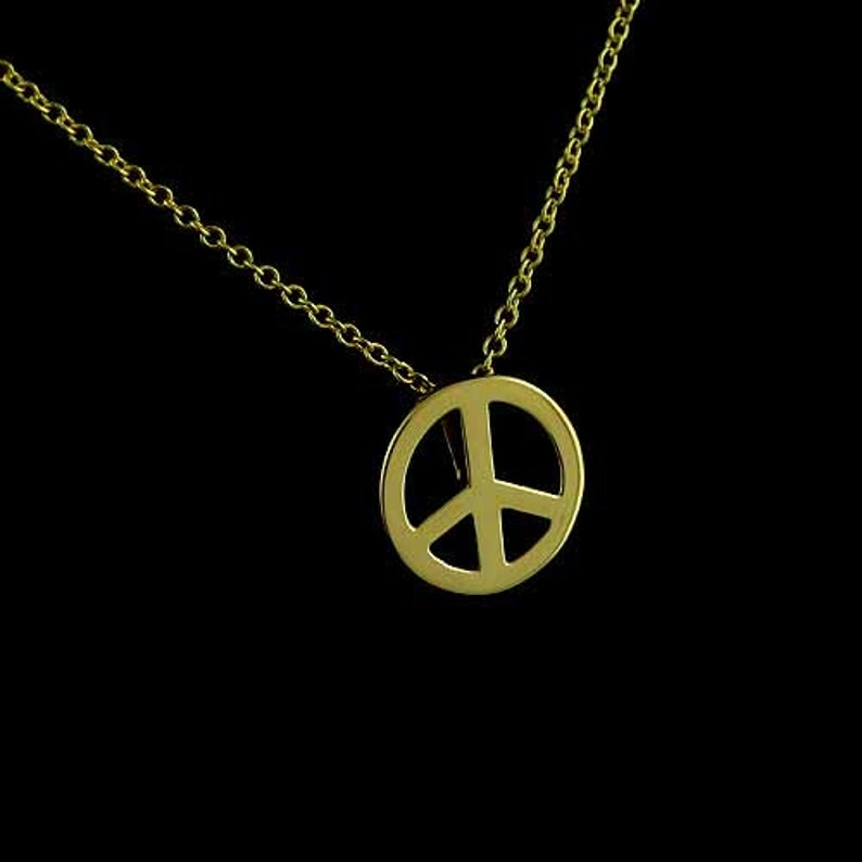 14k Yellow Gold PEACE Sign Symbol Pendant Charm Made in USA