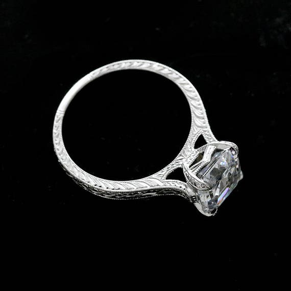 Asscher Cut Moissanite Ring 8mm Forever One Engagement ...