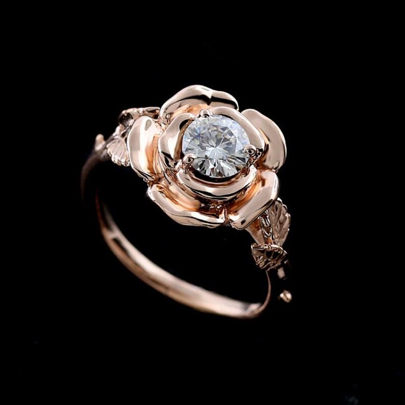 a2a26350ef0a85 Kwiat pierścionek zaręczynowy na zawsze jeden pierścień | Etsy