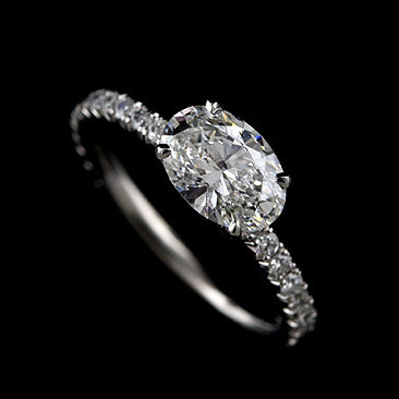 Oval Cut Engagement Ring Cut Down Micro Pave Set Diamonds