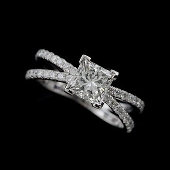 8afedf80c Diamond Engagement Ring Princess Cut Ring Setting Split | Etsy