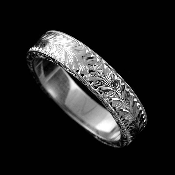 Gold Engraved Men S Band 7mm Wide Men S Wedding Ring Etsy