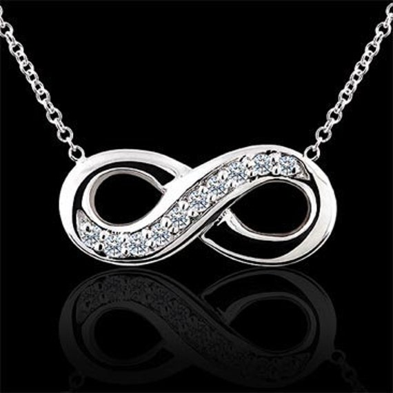 Diamond Infinity Necklace Gold Eternity Symbol Pendant Never Etsy