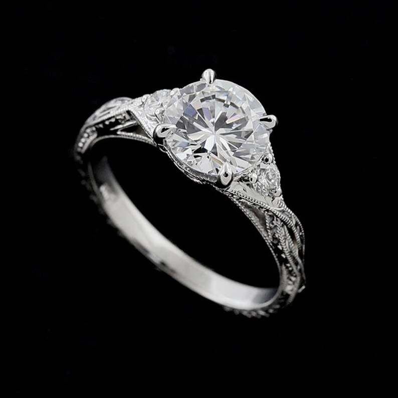 438af8227050e2 Braided Diamond Ring Round Cubic Zirconia Engagement Ring