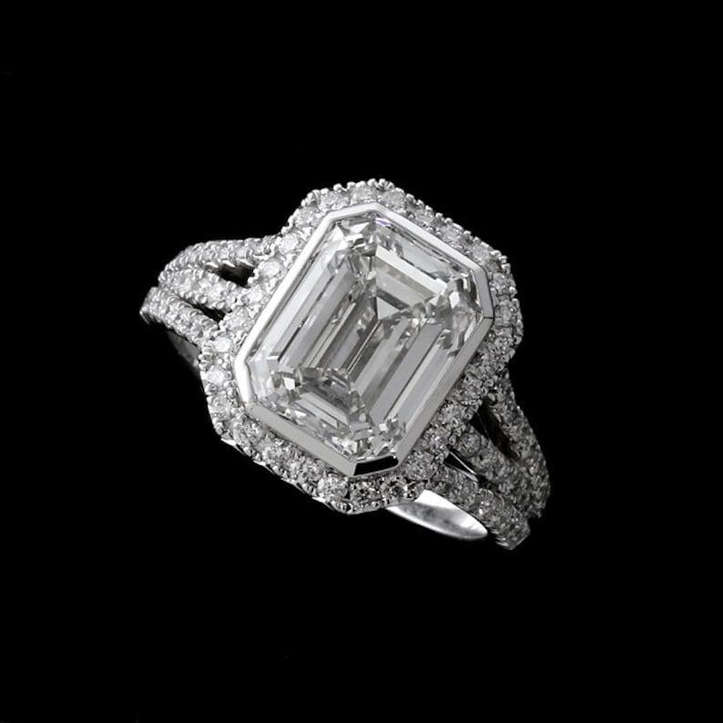 513d52c09026 Emerald Moissanite Ring Triple Split Shank Engagement Ring