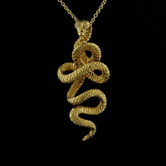 Gold kundalini serpent necklace yellow gold snake pendant aloadofball Gallery