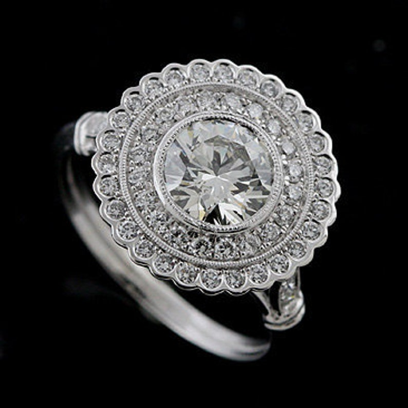 c749aa9807207 Flower Halo Ring, Double Halo Diamond Engagement Ring, Art Deco Inspired  Ring, Micro Pave Diamond Ring,Platinum Ring Setting For Round Stone