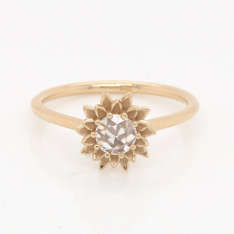 Sunflower Engagement Ring Rose Cut Diamond Proposal Ring image 0