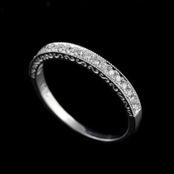 Platinum 2mm Hand Engraved Wedding Band With Milgrain: Diamond Wedding Ring Antique Style Wedding Band Engraved